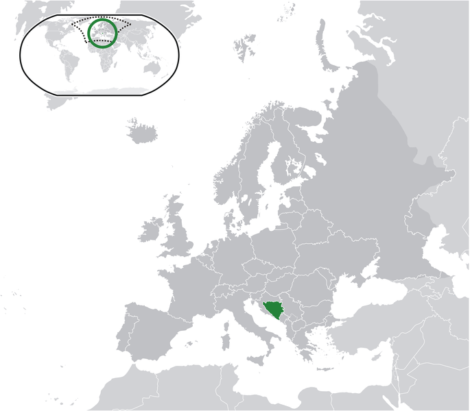 location of Bosnia and Herzegovina high resolution