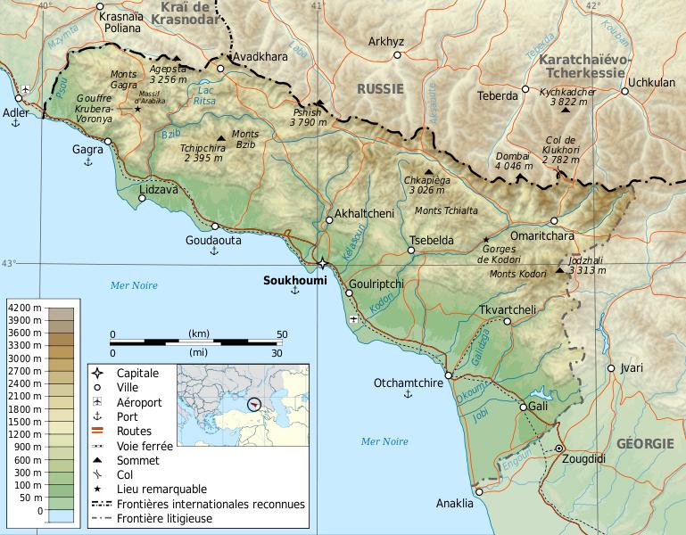 el mapa de Abjasia (A) en gran resolucion