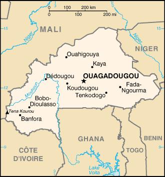 mapa  Burkina Faso em alta resolução