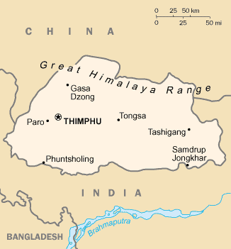 map of Bhutan high resolution