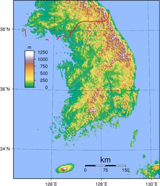 mapa  Coreia do Sul em alta resolução