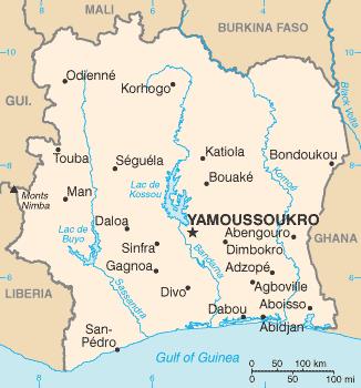 Karte von Elfenbeinküste hohe Auflösung