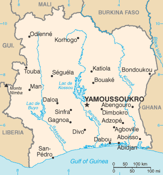 map of Ivory Coast high resolution