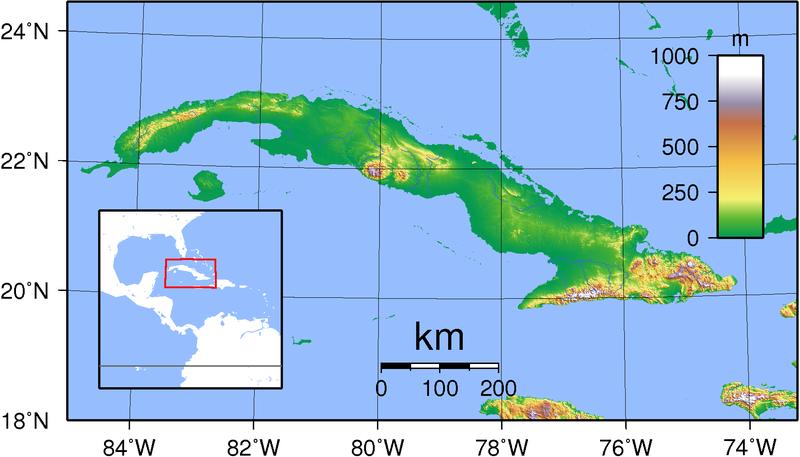 Karte von Kuba hohe Auflösung