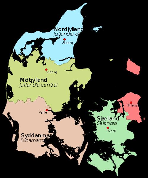 mapa  Dinamarca em alta resolução
