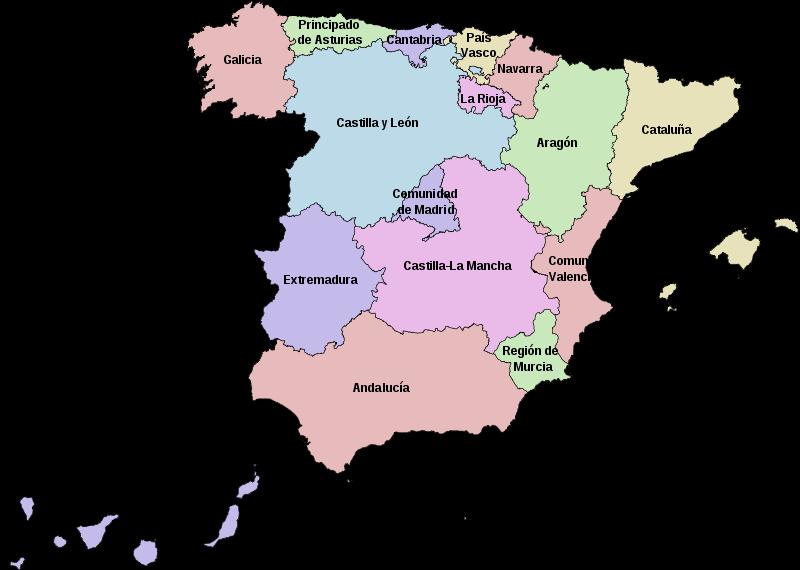 mapa  Espanha em alta resolução