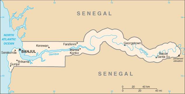 map of Gambia high resolution