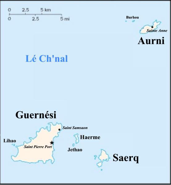 Karte von Guernsey hohe Auflösung