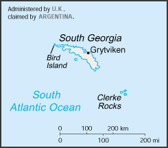 la carte de Géorgie du Sud et Sandwich du Sud haute résolution