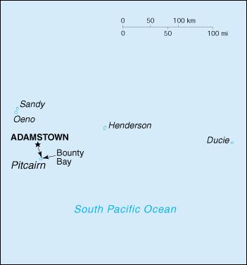 Karte von Pitcairn-Inseln hohe Auflösung