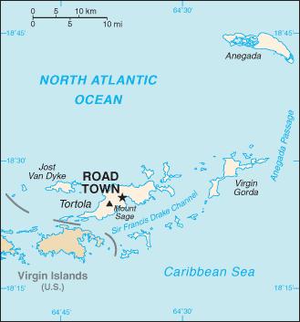mapa  Ilhas Virgens Britânicas em alta resolução