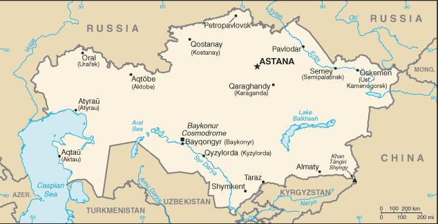 mapa  Cazaquistão em alta resolução