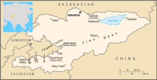 el mapa de Kirguistán en gran resolucion