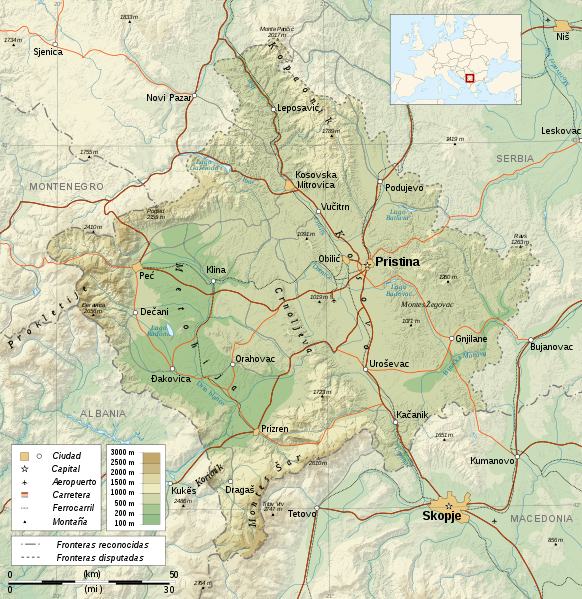 map of Kosovo high resolution