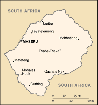 map of Lesotho high resolution