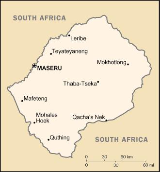 la carte de Lesotho haute résolution