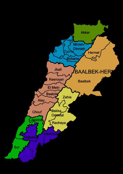 el mapa de Líbano en gran resolucion