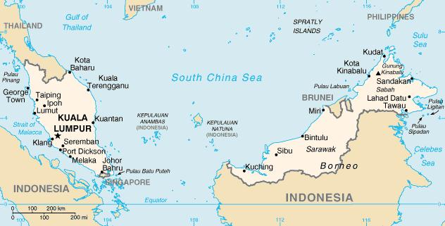 el mapa de Malasia en gran resolucion