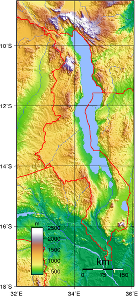 map of Malawi high resolution