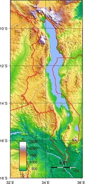 mapa  Malawi em alta resolução