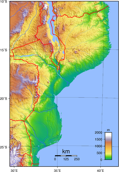 map of Mozambique high resolution