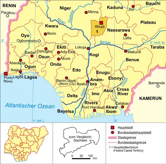 el mapa de Nigeria en gran resolucion