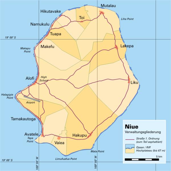 Karte von Niue hohe Auflösung