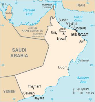 el mapa de Omán en gran resolucion