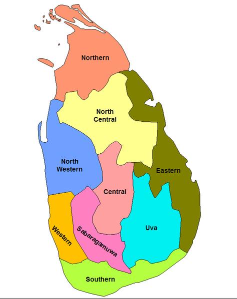 Karte von Sri Lanka hohe Auflösung
