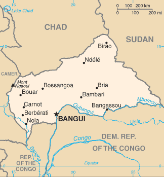 map of Central African Republic high resolution