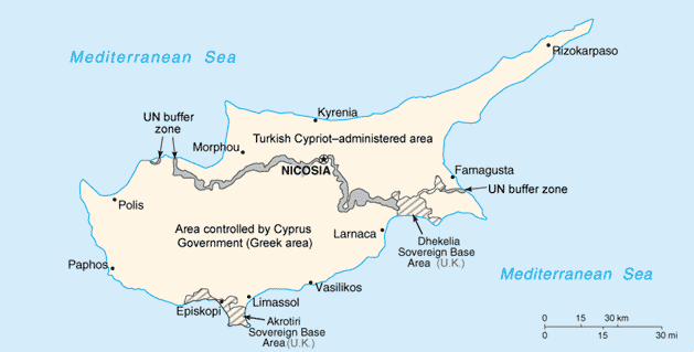 map of Turkish Republic of Northern Cyprus high resolution
