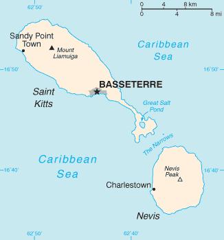 Karte von St. Kitts und Nevis hohe Auflösung
