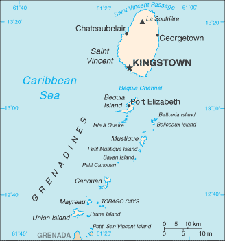 map of St. Vincent and the Grenadines high resolution