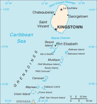 Karte von St. Vincent und die Grenadinen hohe Auflösung