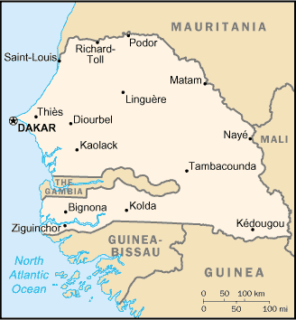 el mapa de Senegal en gran resolucion