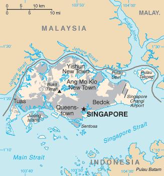 mapa  Singapura em alta resolução