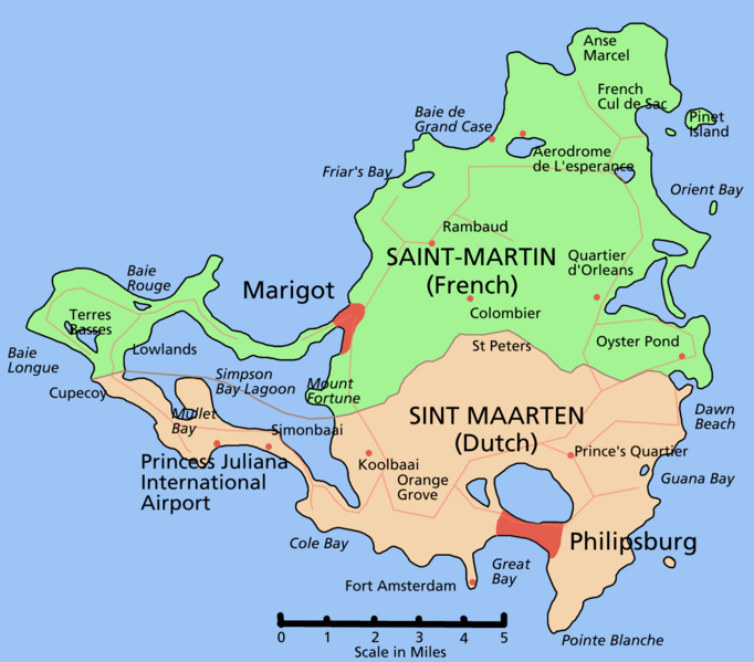 Karte von Sint Maarten hohe Auflösung