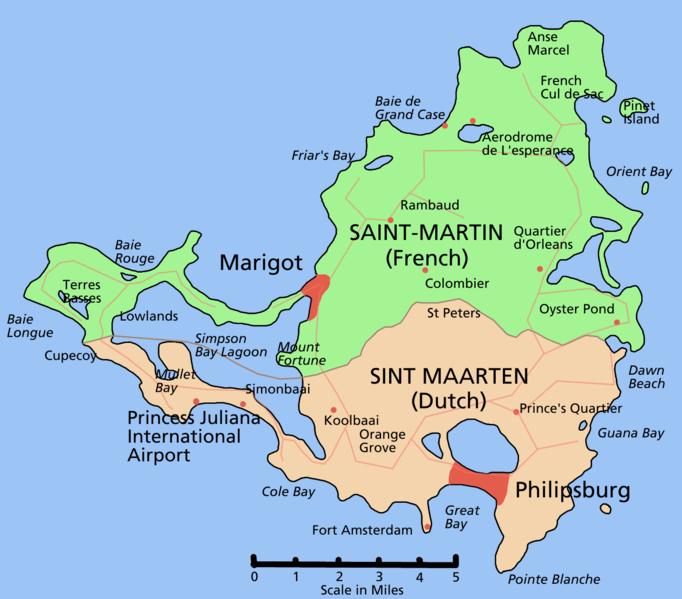 mapa  Sint Maarten em alta resolução