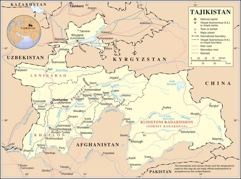 mapa  Tajiquistão em alta resolução