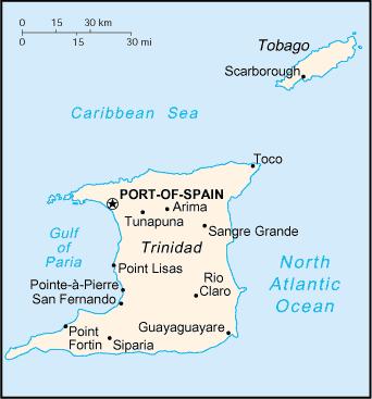 la carte de Trinité-et-Tobago haute résolution