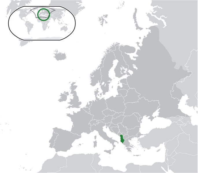 la situacion de Albania en gran resolucion