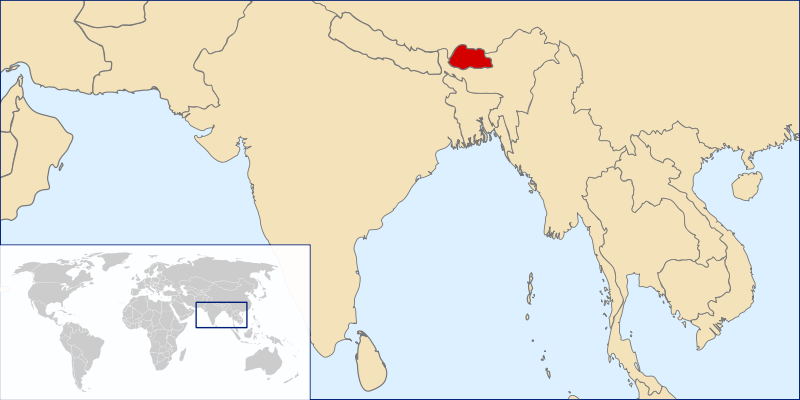 location of Bhutan high resolution