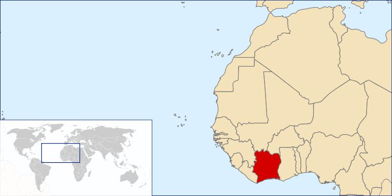 location of Ivory Coast high resolution
