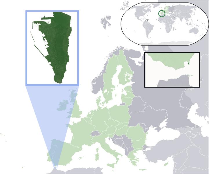 Lage von Gibraltar hohe Auflösung