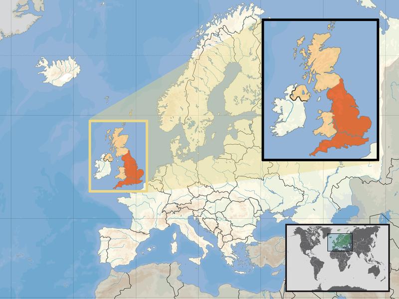 Lage von England hohe Auflösung