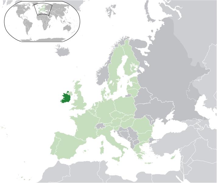 Lage von Irland hohe Auflösung