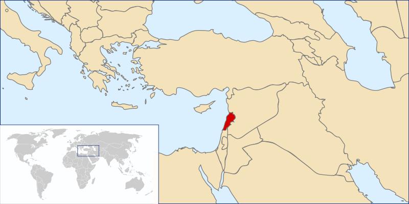 Lage von Libanon hohe Auflösung