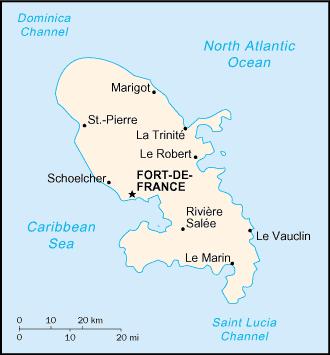 la carte de Martinique haute résolution
